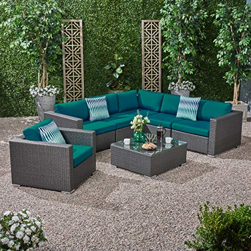 Great Deal Furniture Francisco Rosa Outdoor 6 Seater Wicker Sectional Sofa Set with Sunbrella Cushions, Gray and Sunbrella Canvas Teal