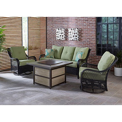 Hanover ORL4PCSQFP-GRN Orleans 4Piece Woven Lounge Set with A 40, 000 BTU Fire Pit Table in Avocado Green Outdoor Furniture