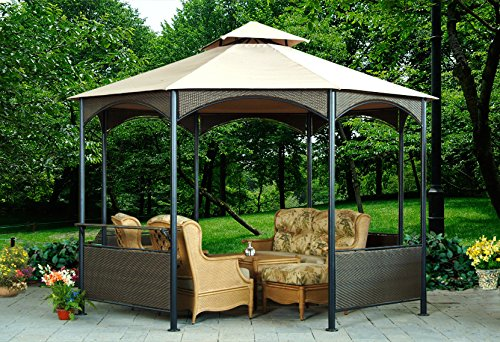 Sunjoy L-GZ133PST FBA_L-GZ133PST 11' x 11' Wicker Soft-Top Gazebo, Tan