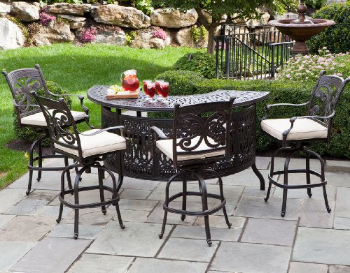 Heritage Outdoor Living Flamingo Cast Aluminum 5pc Party Bar Set w/ 40? x 75? Bar Table - Antique Bronze