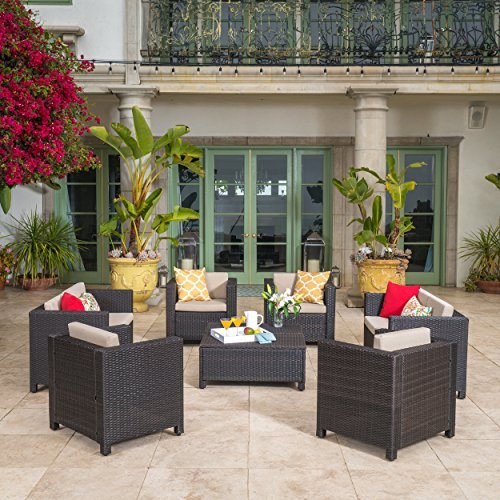 Patagonia Outdoor 8 Pc Wicker Chat Set w/Water Resistant Cushions (Dark Brown/Beige)
