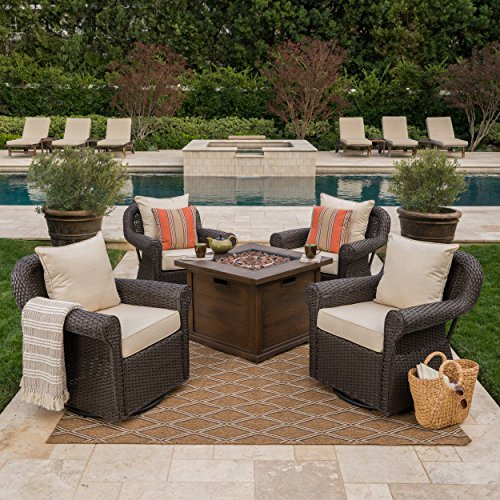 Venturi Outdoor 5 Piece Dark Brown Wicker Swivel Club Chairs with Brown Gas Fire Pit