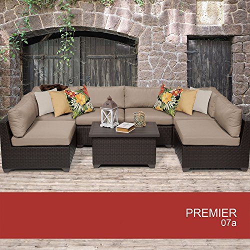 Premier 7 Piece Outdoor Wicker Patio Furniture Set 07a