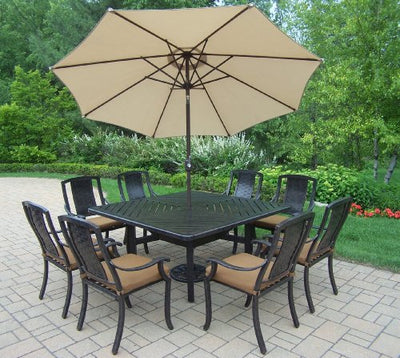 Oakland Living Vanguard 11-Piece Furniture Set with 60 by 60-Inch Square Table, 8 Sunbrella Cushioned Stackable Chairs, 9-Feet Tilt and Crank Beige Umbrella and Stand