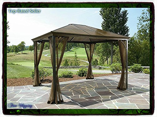 10 X 12 Hardtop Gazebo Metal Steel Roof Outdoor Patio Aluminum Canopy Party Tent W Poles Pergola Arbor Arch Deck Shade Grand Resort Sun Grill New Guarantee with Its Only Ebook
