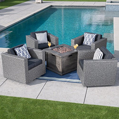 Christopher Knight Home Archer Outdoor 5 Piece Mixed Black Swivel Club Chairs with Grey Gas Fire Pit