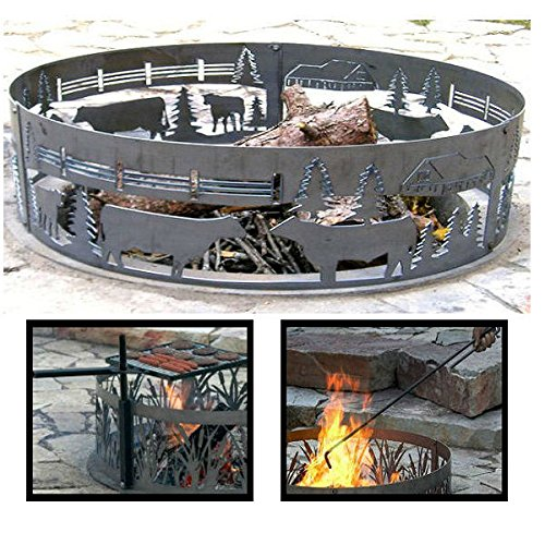 PD Metals Steel Campfire Fire Ring Cows On The Farm Design - Unpainted - with Fire Poker and Cooking Grill - Extra Large 60 d x 12 h Plus Free eGuide