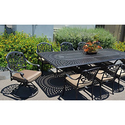 "Elizabeth Cast Aluminum Powder Coated 11 piece Dining Set with 48""x132"" Extension Table Cushions Included - Antique Bronze"