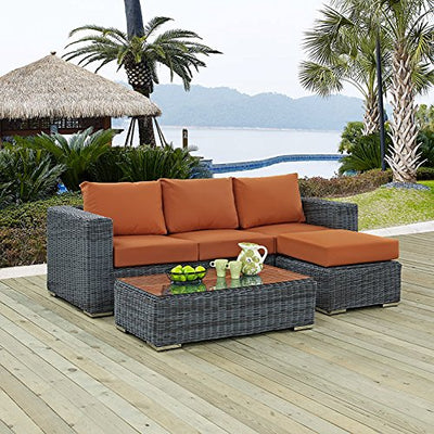 Summon 3 Piece Outdoor Patio Sunbrella Sectional Set