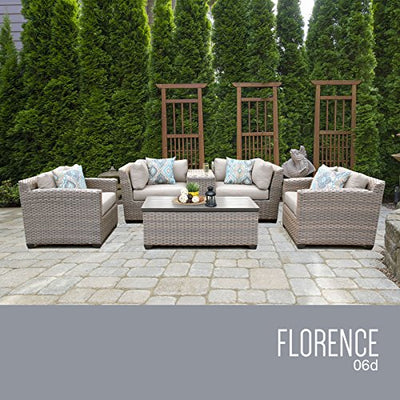 TK Classics FLORENCE-06d-BEIGE 6 Piece Outdoor Wicker Patio Furniture Set, Beige