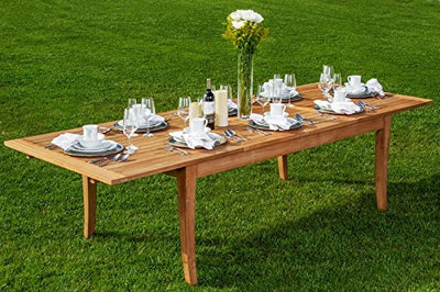 "11-pc Outdoor Teak Dining Set: 122"" X-Large Rectangle Extension Table, 2 Arms & 8 Armless Osbo Chairs"