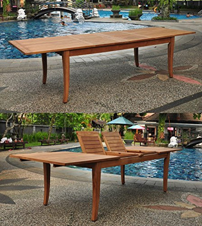 "WholesaleTeakFurniture Grade-A Teak Wood 8 Seater 9 Pc Dining Set: 122"" Atnas Double Extension Rectangle Table and 8 Mas Stacking Arm Chairs #WFDSMS37"