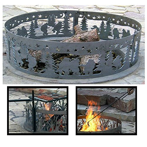 PD Metals Steel Campfire Fire Ring Dancing Bears Design - Unpainted - with Fire Poker and Cooking Grill - Extra Large 60 d x 12 h Plus Free eGuide