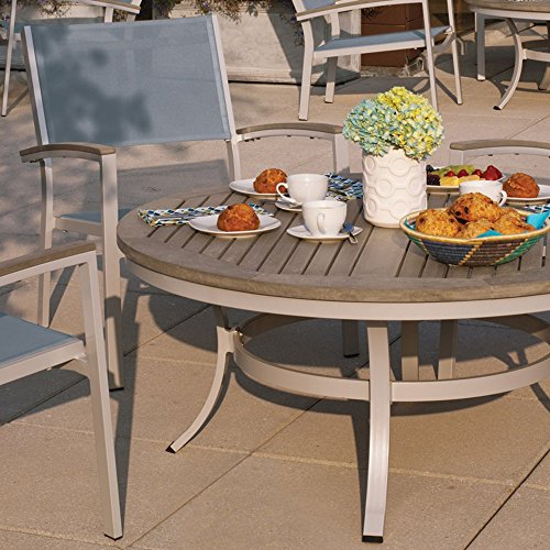 Oxford Garden Travira 5 Piece Aluminum with Vintage Tekwood Sling Cafe Set, Go Green