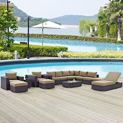 Modern Contemporary Urban Design Outdoor Patio Balcony Twelve PCS Sectional Sofa Set, Brown, Rattan