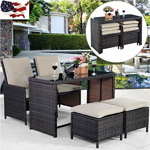 5PCS Brown Cushioned Ottoman Rattan Patio Set Outdoor Garden Furniture New US (item_by#loonghead it#326252485176160