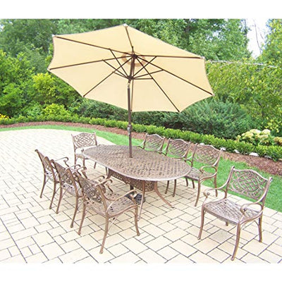 Oakland Living Corporation Dakota 11-Piece Outdoor Dining Set with 9 ft Beige Umbrella and Stand