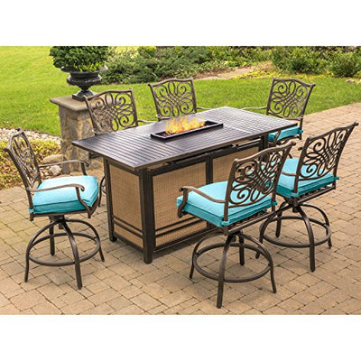 Hanover TRAD7PCFPBR-BLU Traditions 7-Piece High-Dining Set in Blue with 30,000 BTU Fire Pit Table Outdoor Furniture