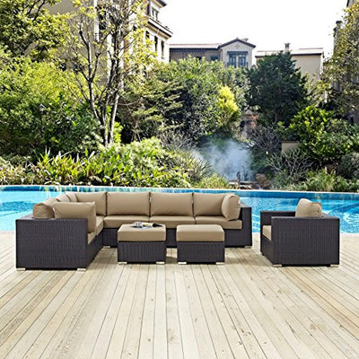 Modern Contemporary Urban Design Outdoor Patio Balcony Nine PCS Sectional Sofa Set, Brown, Rattan