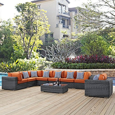 Modern Contemporary Urban Design Outdoor Patio Balcony Seven PCS Sectional Sofa Set, Orange, Rattan