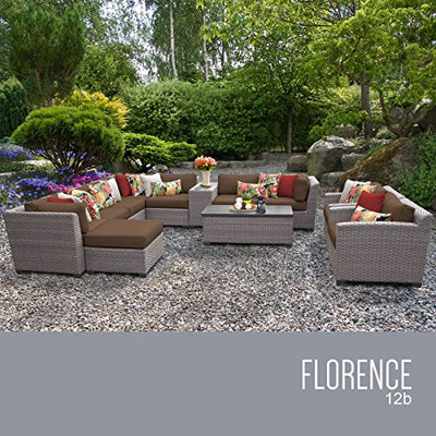 TK Classics FLORENCE-12b-COCOA 12 Piece Outdoor Wicker Patio Furniture Set, Cocoa