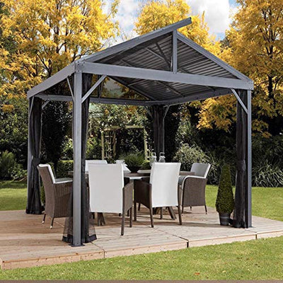 Sojag 12' x 12' South Beach I Hardtop Gazebo Outdoor Sun Shelter with Mosquito Netting, Grey
