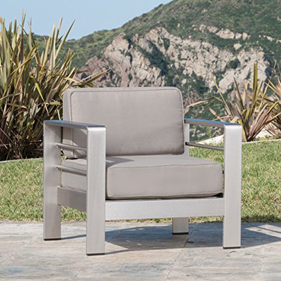 Great Deal Furniture 298172 Coral Bay Outdoor Aluminum 10-Piece Chat Set with Cushions, Khaki