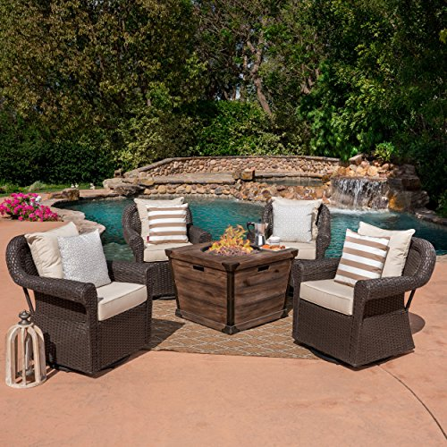 Parker Outdoor 5 Piece Wicker Swivel Club Chair with Aluminum Frame and Fire Pit Set, Dark Brown with Beige and Brown