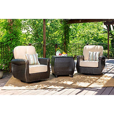 La-Z-Boy Outdoor Breckenridge 3 Piece Resin Wicker Patio Furniture Set (Natural Tan): 2 Swivel Rockers and Side Table with All Weather Sunbrella Cushions