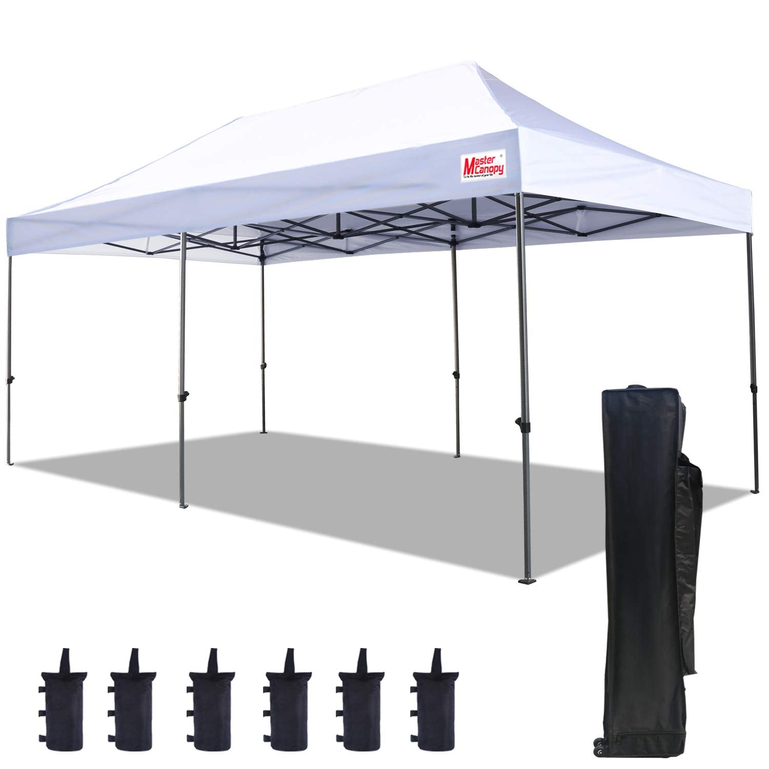 MasterCanopy Pop Up Canopy Tent 10x20 Commercial Instant Canopies with Heavy Duty Roller Bag,Bonus 4 Canopy Sand Bags (10x20 Feet, White)
