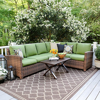 Leisure Made Dalton 5 Piece Outdoor Sectional, Green Fabric