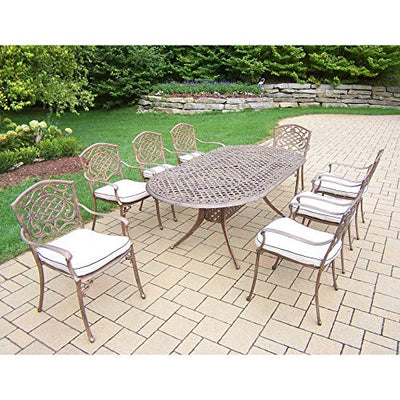 Oakland Living Corporation Cast Aluminum 9-Piece Dining Set with 8 Cushioned Arm Chairs