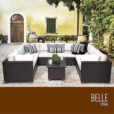 TKC Belle 9 Piece Patio Wicker Sectional Set in White