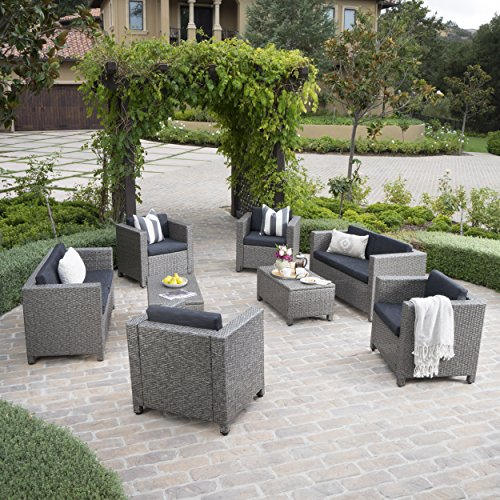 Patagonia Outdoor 8 Pc Wicker Chat Set w/Water Resistant Cushions (Dark Grey/Black)