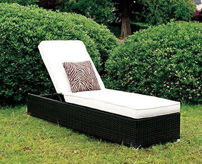 Furniture of America Sollari Adjustable Back Outdoor Chaise Contemporary Style - White