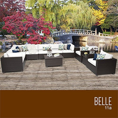 TKC Belle 11 Piece Patio Wicker Sofa Set in White