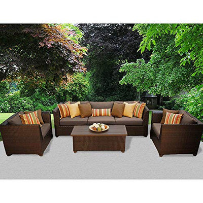 Delacora BARBADOS-06g-COCOA Caribbean 6-Piece Aluminum Framed Outdoor Conversation Set with Storage Coffee Table and Club Chairs