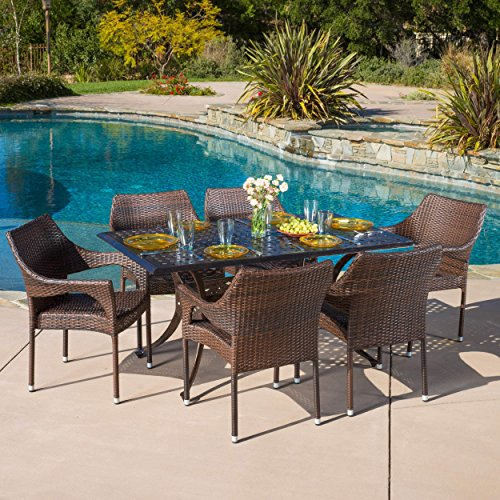 14th Mobility Rectangular Patio Pool Outdoor Table Set with Aluminum Frame and PE Wicker Construction, Table with Umbrella Hole, Weather Resistant and UV Protection, Brown Color + Expert Guide