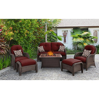 Hanover NEWPT6PCFP-RED-WG 6 Piece Newport Woven Seating Set in Crimson Red with Fire Pit Table