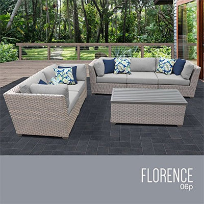 TK Classics FLORENCE-06p-GREY Florence Seating Patio Furniture, Grey