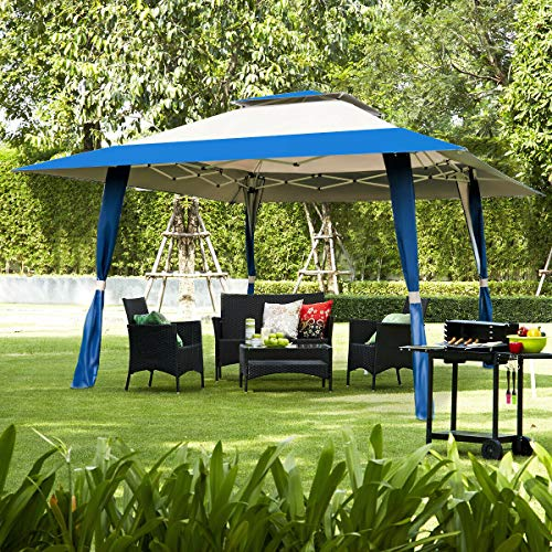 Elegant Patio Canopy Tent Awning Gazebo Levels Adjustment Outdoor Camping Folding Blue