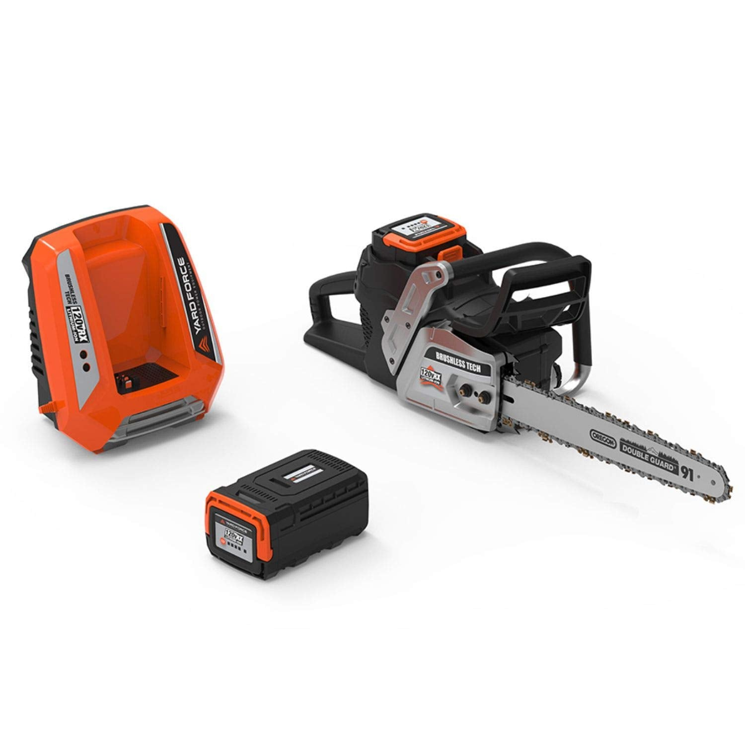 "YARD FORCE YF120vRX 120v Lithium-Ion 18"" Chainsaw with Oregon Bar and Chain-Complete with Battery and Fast Charger Included"