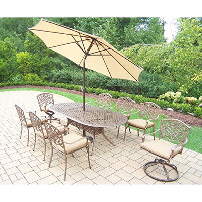 Oakland Living Corporation Dakota Antique Bronze Tan Cushioned 11-Piece Patio Dining Set