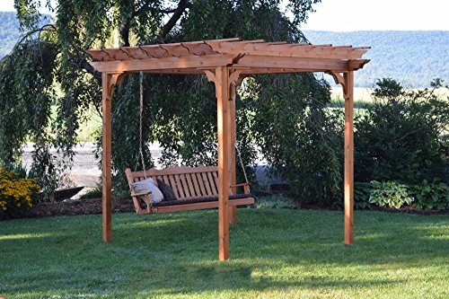 A&L Furniture Co. 8' x 8' Amish-Made Cedar Pergola with 6' Royal English Porch Swing, Oak