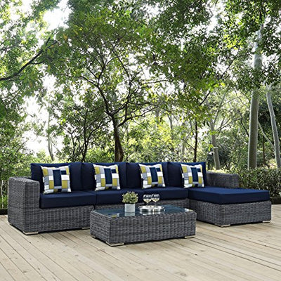 Modern Contemporary Urban Design Outdoor Patio Balcony Five pc Sectional Sofa Set, Navy Blue, Rattan