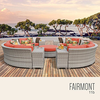 TK Classics FAIRMONT-11b-TANGERINE 11 Piece Outdoor Wicker Patio Furniture Set, Tangerine