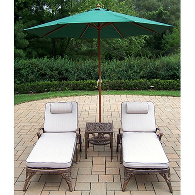 Oakland Living Elite Cast Aluminum 2 Cushioned Chaise Lounges with 18-Inch Side Table Plus 9-Feet Green Umbrella and Stand