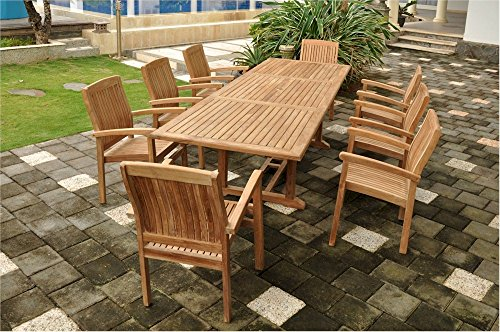 Anderson Teak Set-77 - No Cushion Bahama Rectangular Extension Dining Table & Sahara Stackable Armchair Set with No Cushion