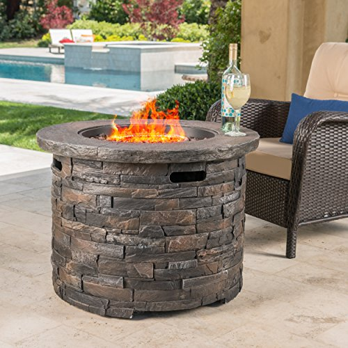 Stonecrest Patio Furniture ~ Outdoor Propane (Gas) Fire Pit 40,000BTU (Table)(Grey Stone/Round)