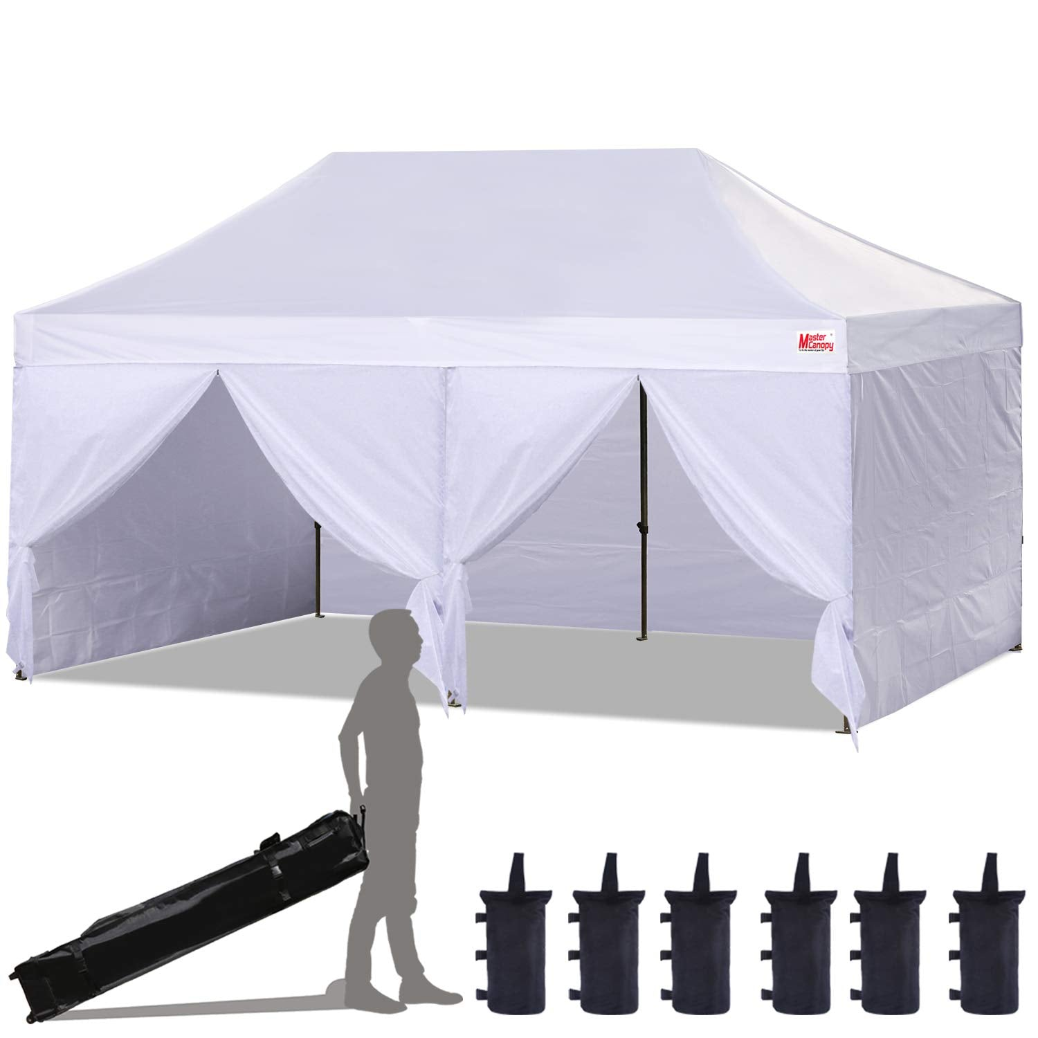 MasterCanopy Ez Pop-up Canopy Tent 10x20 Commercial Instant Canopies with 4 Removable Side Walls 2 Door Wall and Roller Bag, Bonus 6 SandBags (10x20 Feet, White)